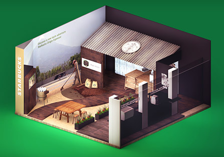 Starbucks Exhibition Interior 3D Renders